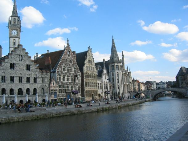 photo of old buildings along the river in Ghent