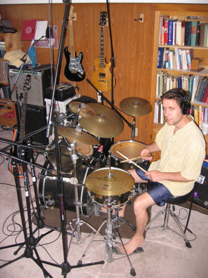 Jon playing drums in mangobananas studios, Ithaca, at the session for this song in July 2007.