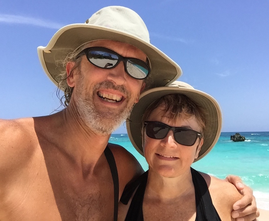 Andy and Barbara cell phone selfie from Bermuda, July 17, 2015
